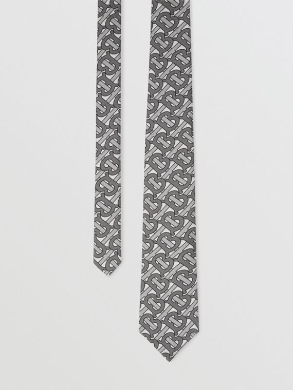 Classic Cut Monogram Print Silk Tie in Mid Grey