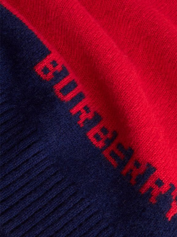 Logo Intarsia Cashmere Sweater in Bright Red | Burberry Australia - cell image 1