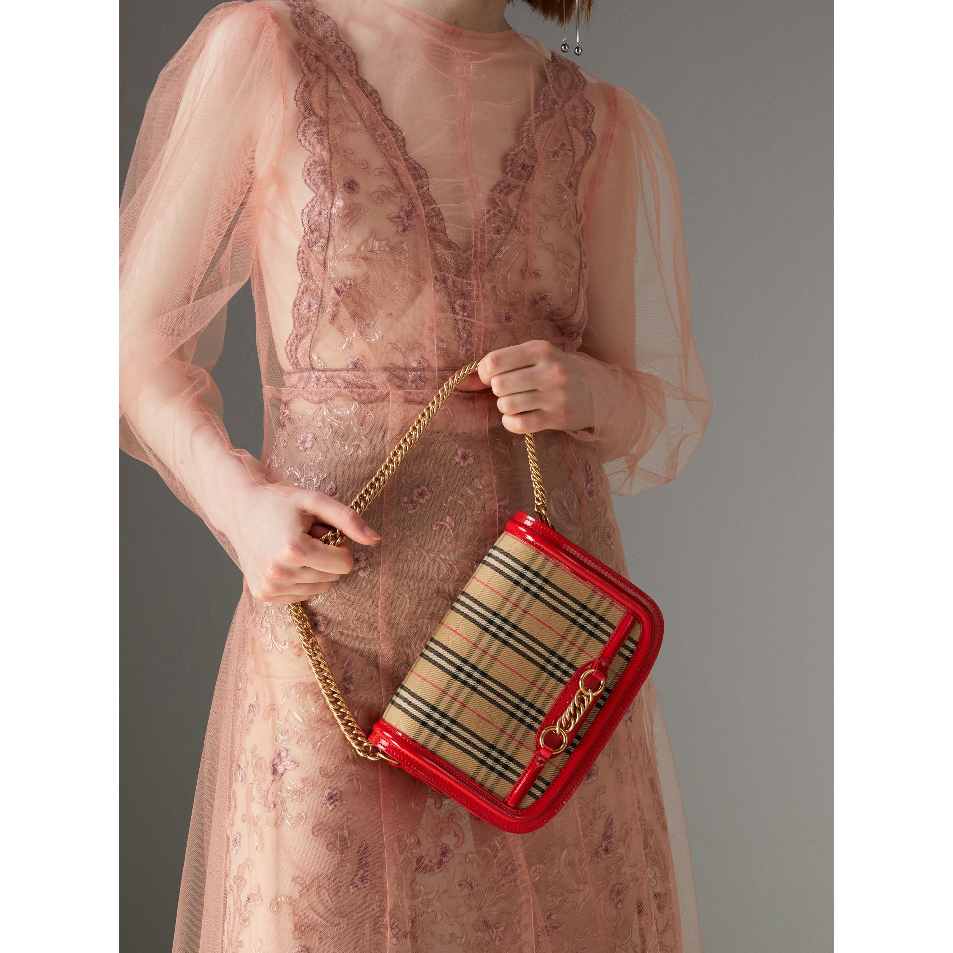 The 1983 Check Link Bag with Patent Trim in Bright Red - Women | Burberry Australia - gallery image 3