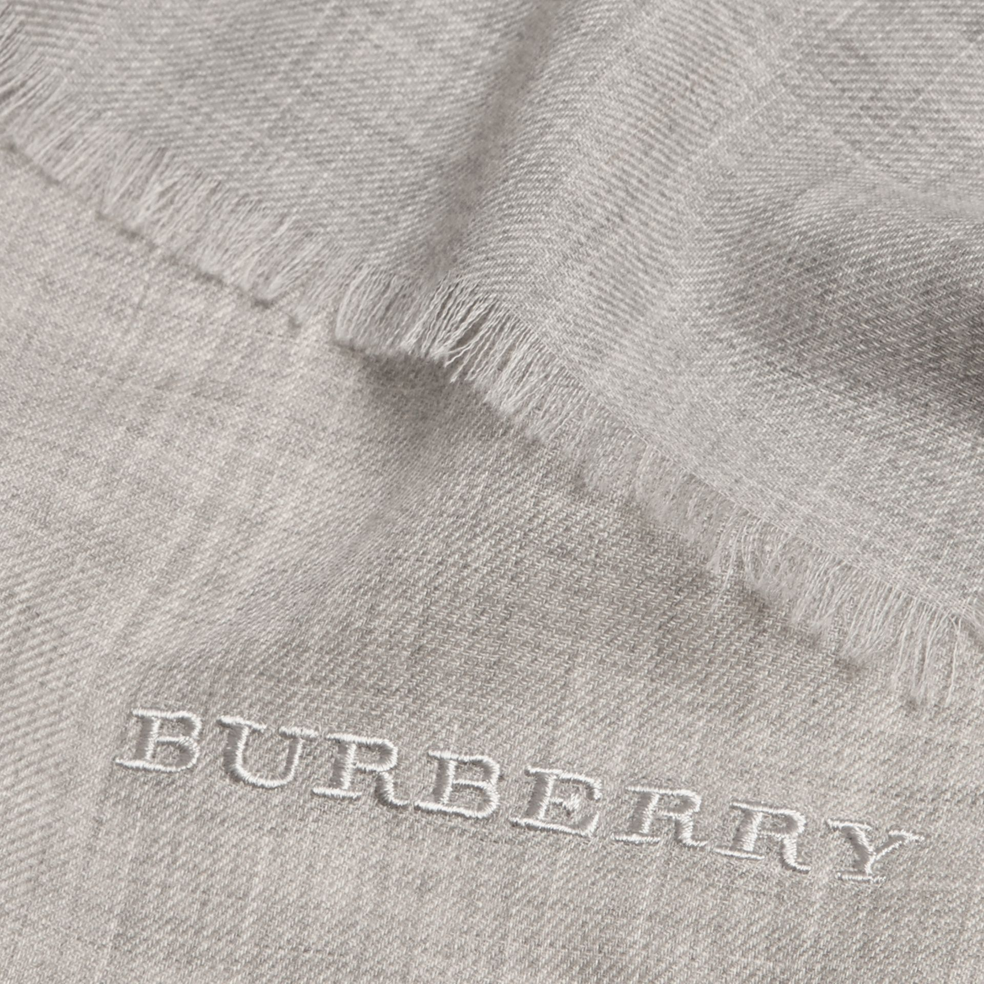 Pale grey The Lightweight Cashmere Scarf Pale Grey - gallery image 5