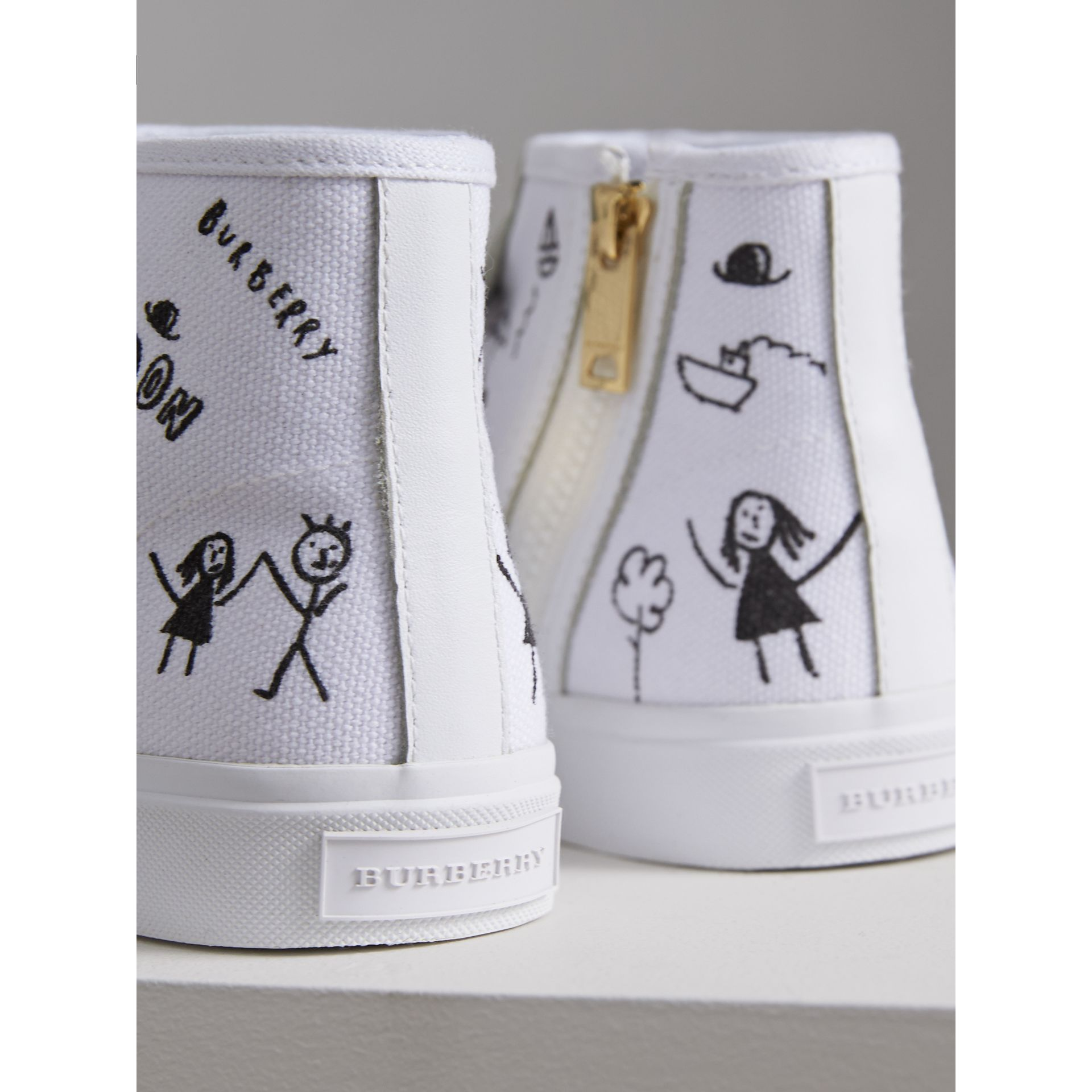 Doodle Print High-top Trainers | Burberry - gallery image 3
