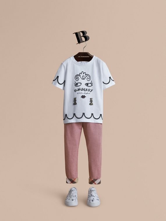 Lady Print Cotton T-shirt in White - Girl | Burberry