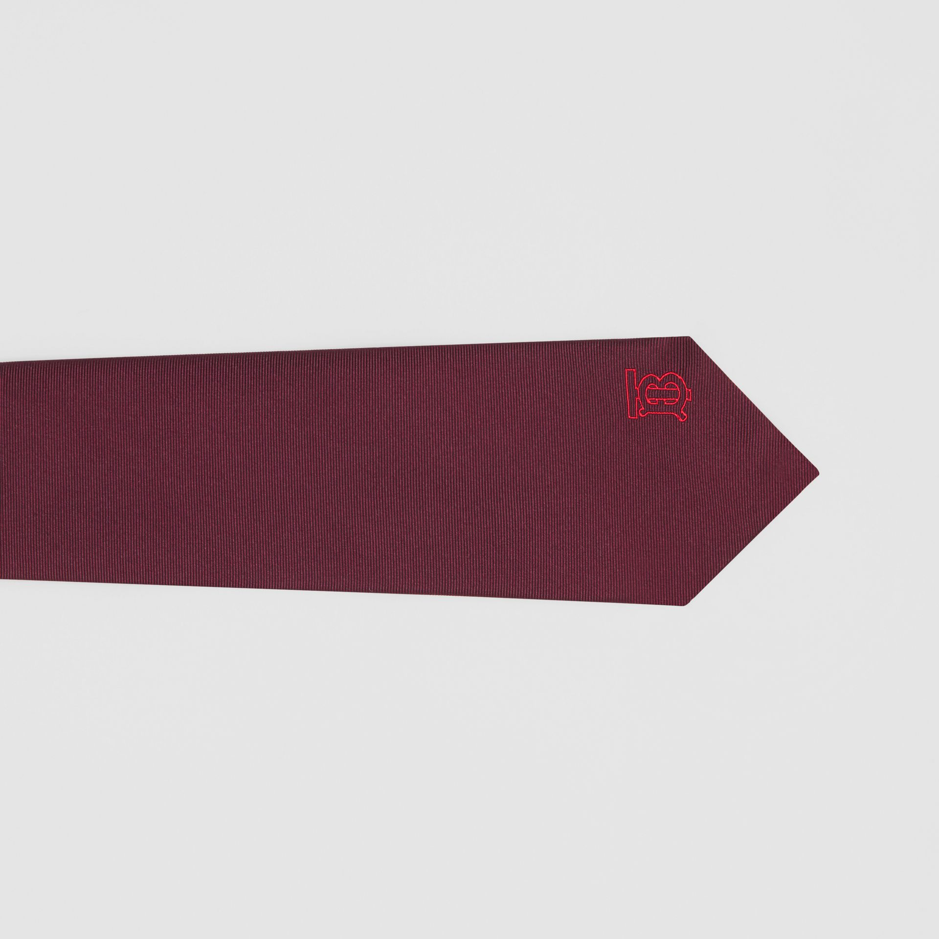 Classic Cut Monogram Motif Silk Tie in Deep Claret - Men | Burberry Canada - gallery image 1