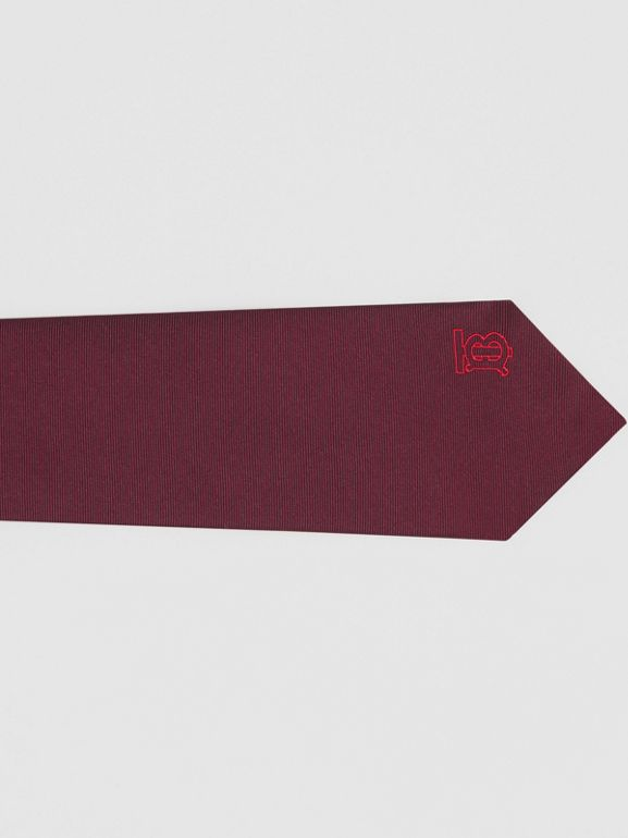 Classic Cut Monogram Motif Silk Tie in Deep Claret - Men | Burberry - cell image 1
