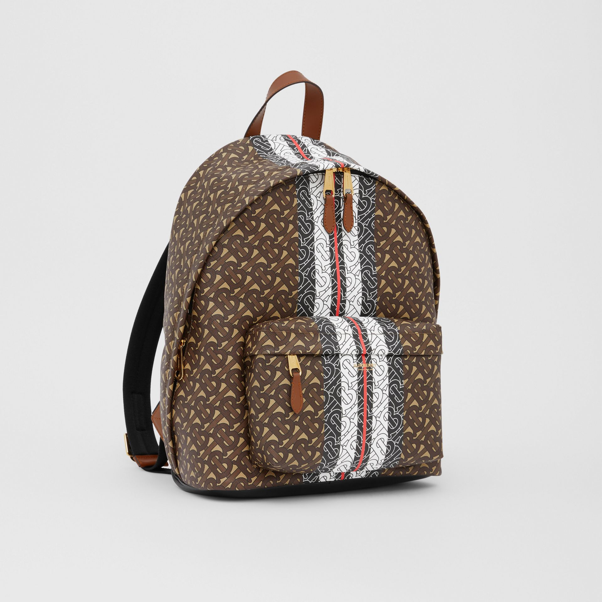 Monogram Stripe Print E-canvas Backpack in Bridle Brown | Burberry United States - gallery image 8