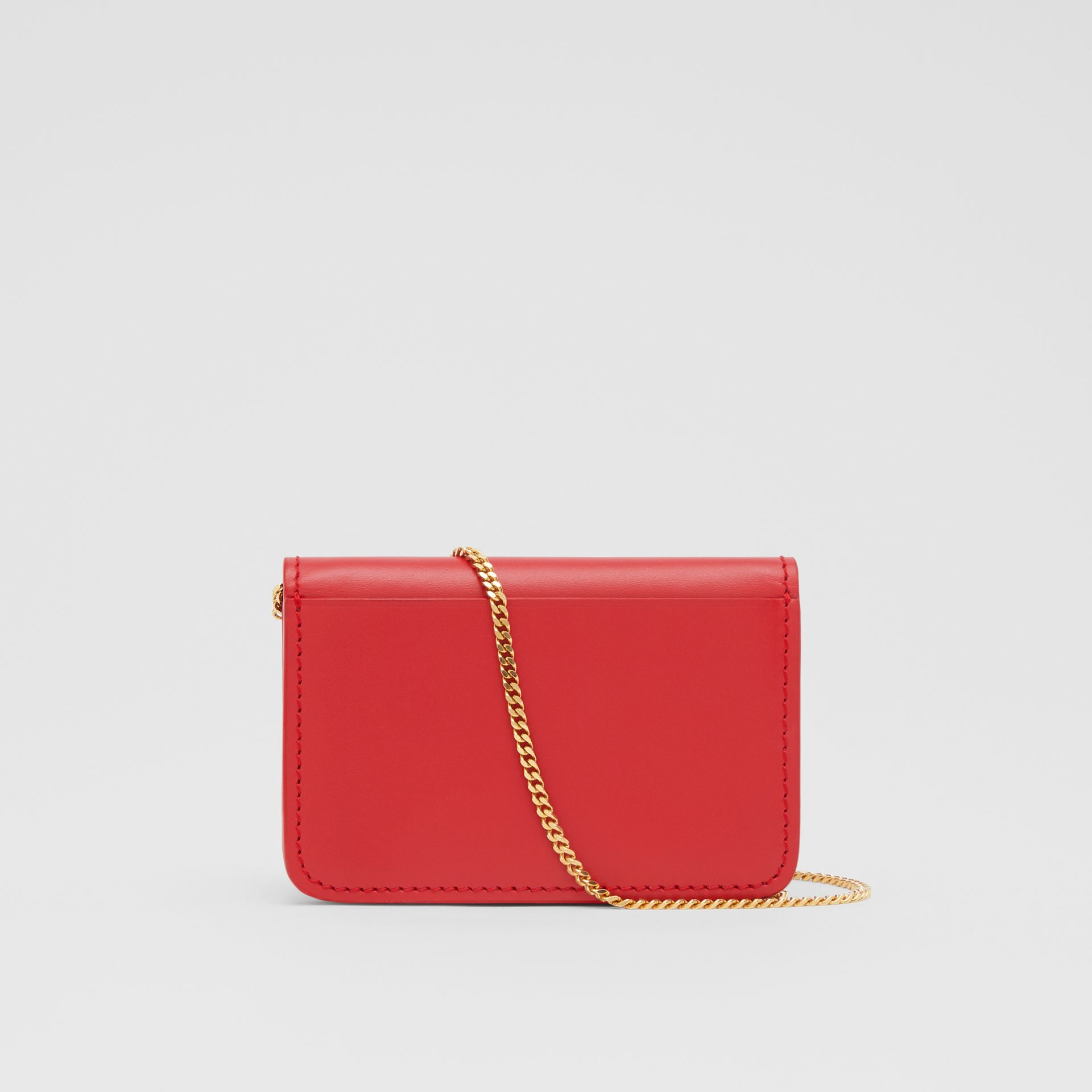 Two-tone Leather Card Case with Chain Strap in Red | Burberry - gallery image 7