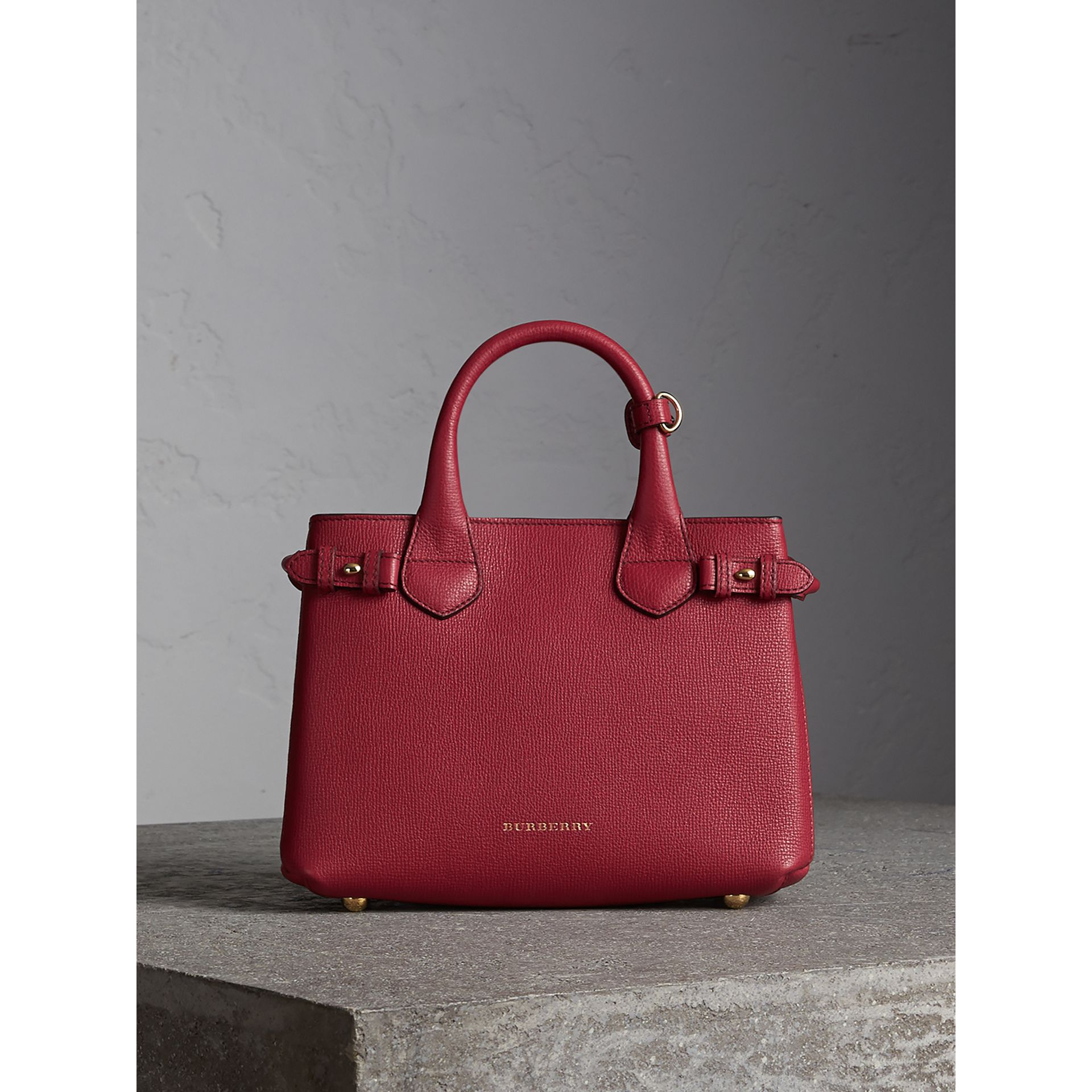 The Small Banner in Leather and House Check in Russet Red - Women | Burberry - gallery image 8