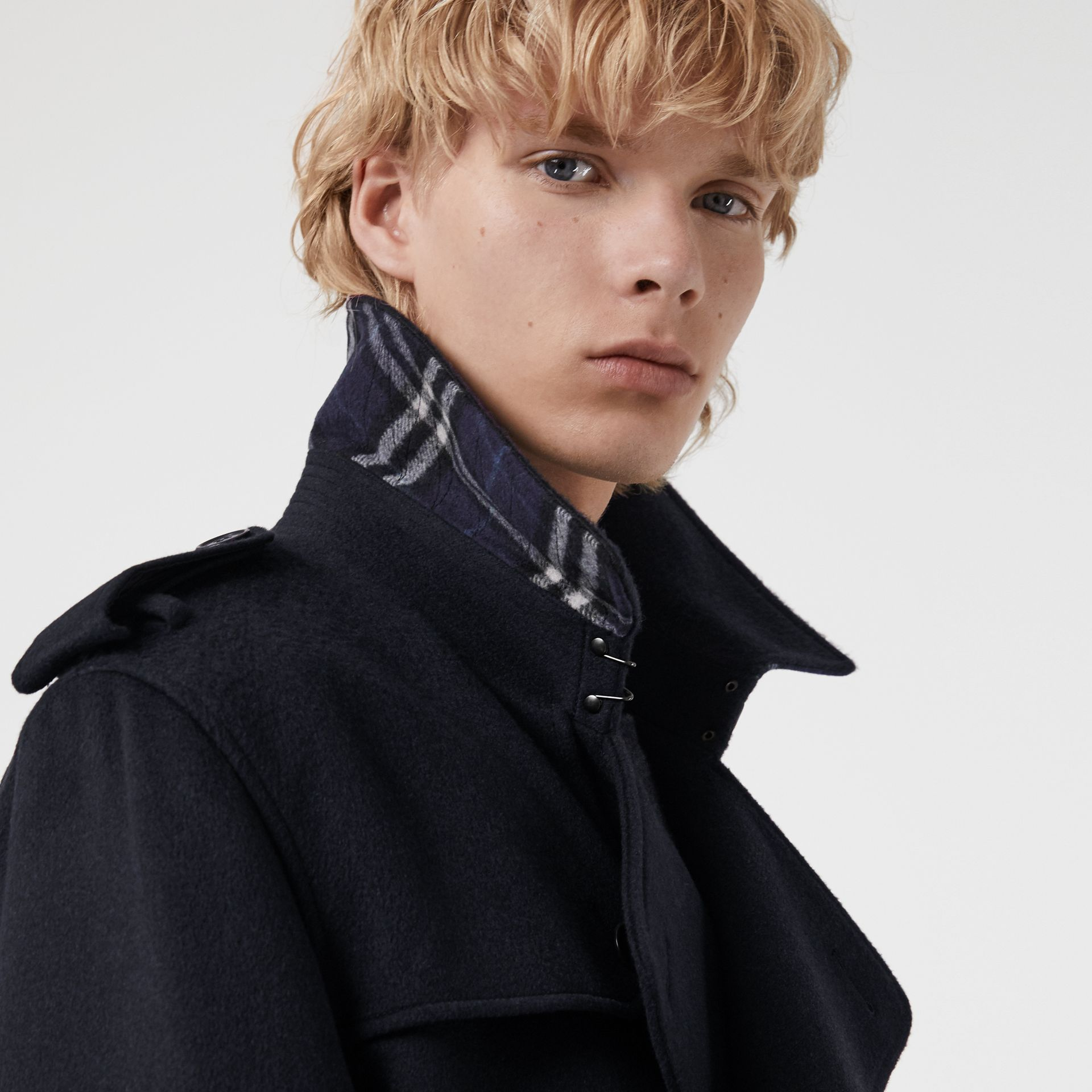 Cashmere Trench Coat in Navy - Men | Burberry United Kingdom - gallery image 1