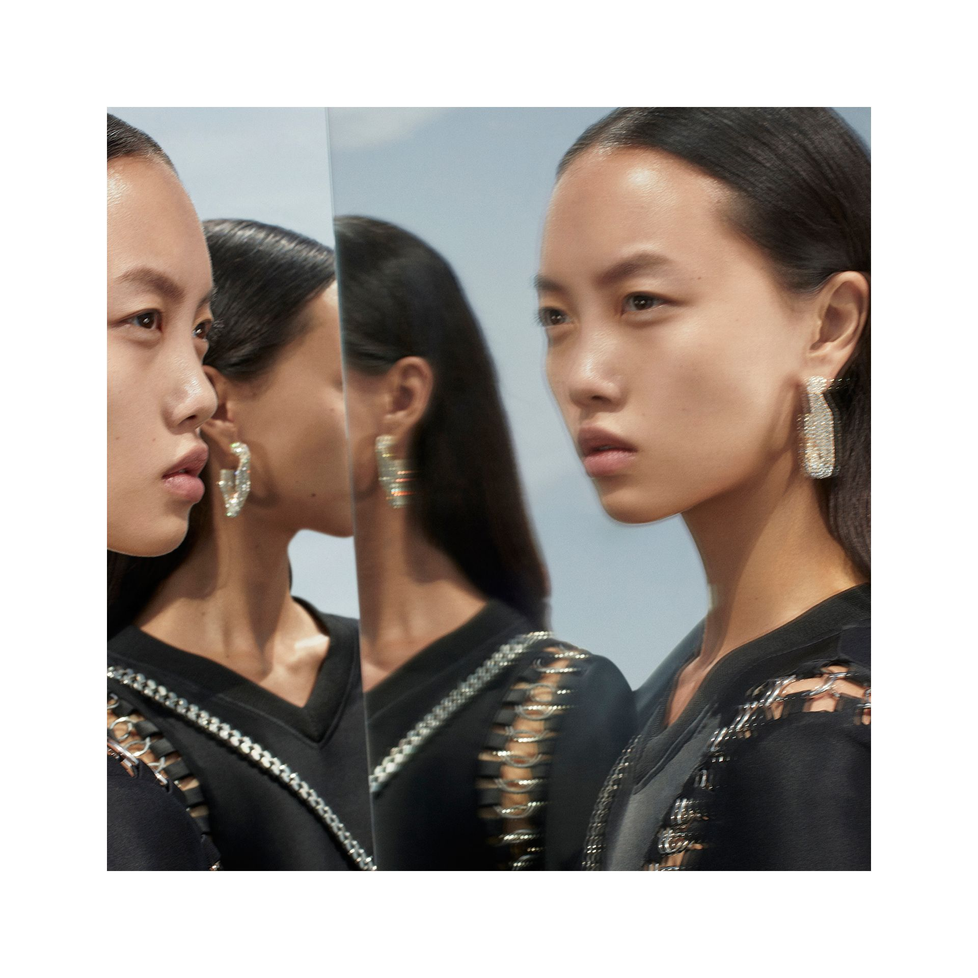 Crystal Gold-plated Chain-link Hoop Earrings in Light Gold/crystal - Women | Burberry United States - gallery image 1
