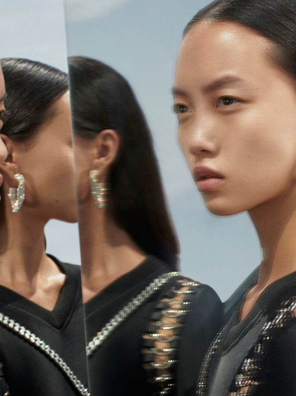 Crystal Gold-plated Chain-link Hoop Earrings in Light Gold/crystal - Women | Burberry United States - cell image 1