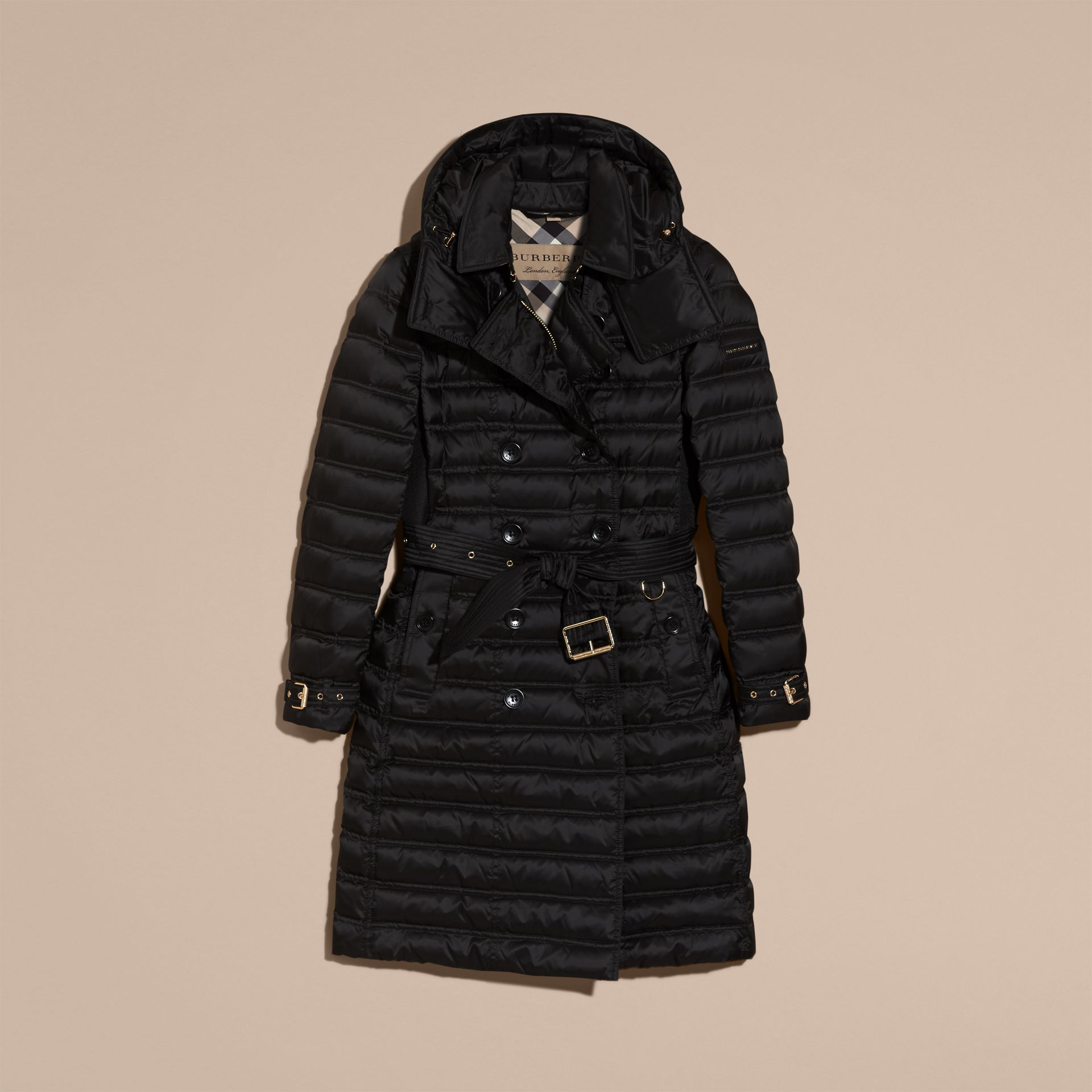 Black Down-filled Puffer Coat with Detachable Hood Black - gallery image 4