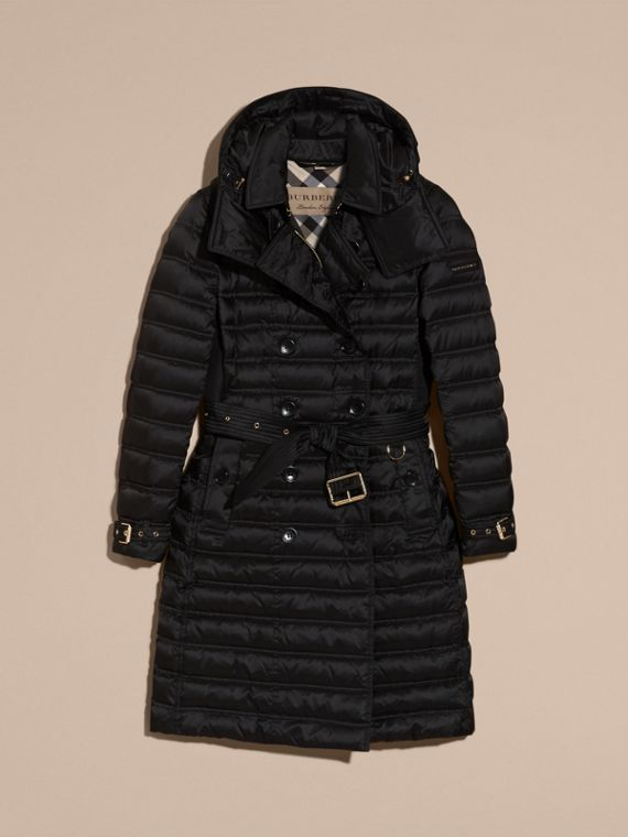 Down-filled Puffer Coat with Detachable Hood in Black - cell image 3