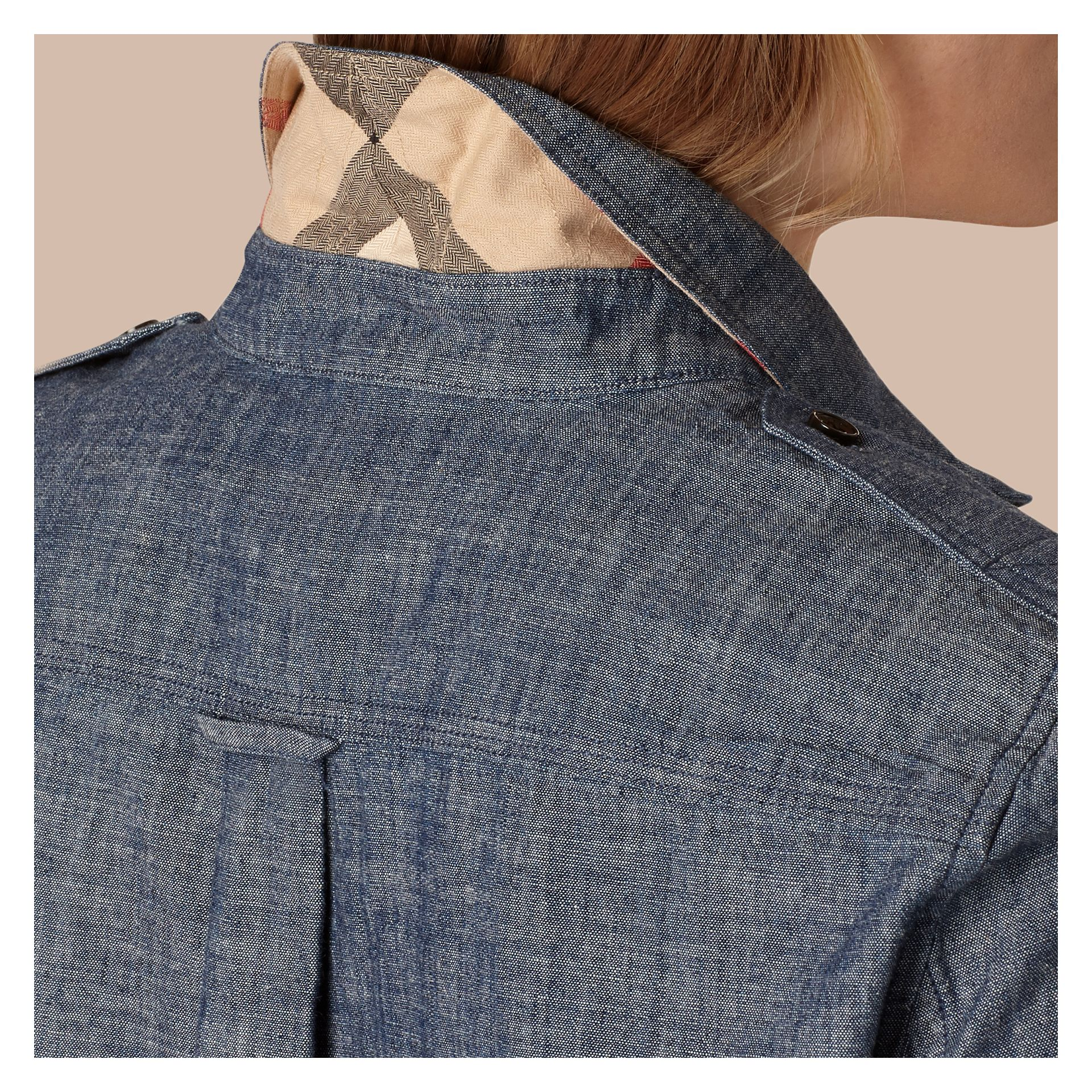 Light indigo Check Detail Cotton Chambray Tunic Shirt - gallery image 5