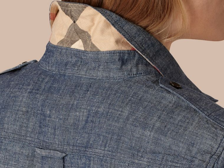 Light indigo Check Detail Cotton Chambray Tunic Shirt - cell image 4