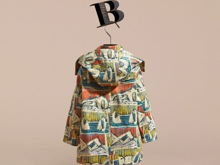 Reclining Figures Print Hooded Cotton Trench Coat in Stone Blue | Burberry United States - cell image 4