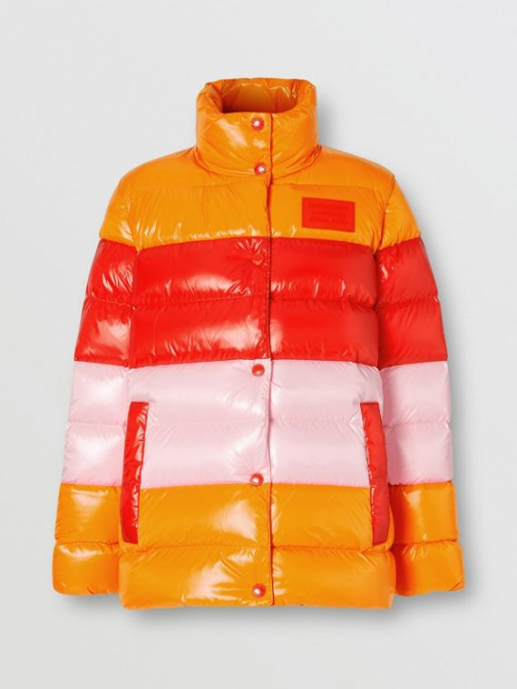 Panelled Nylon Puffer Jacket with Detachable Sleeves in Bright Red