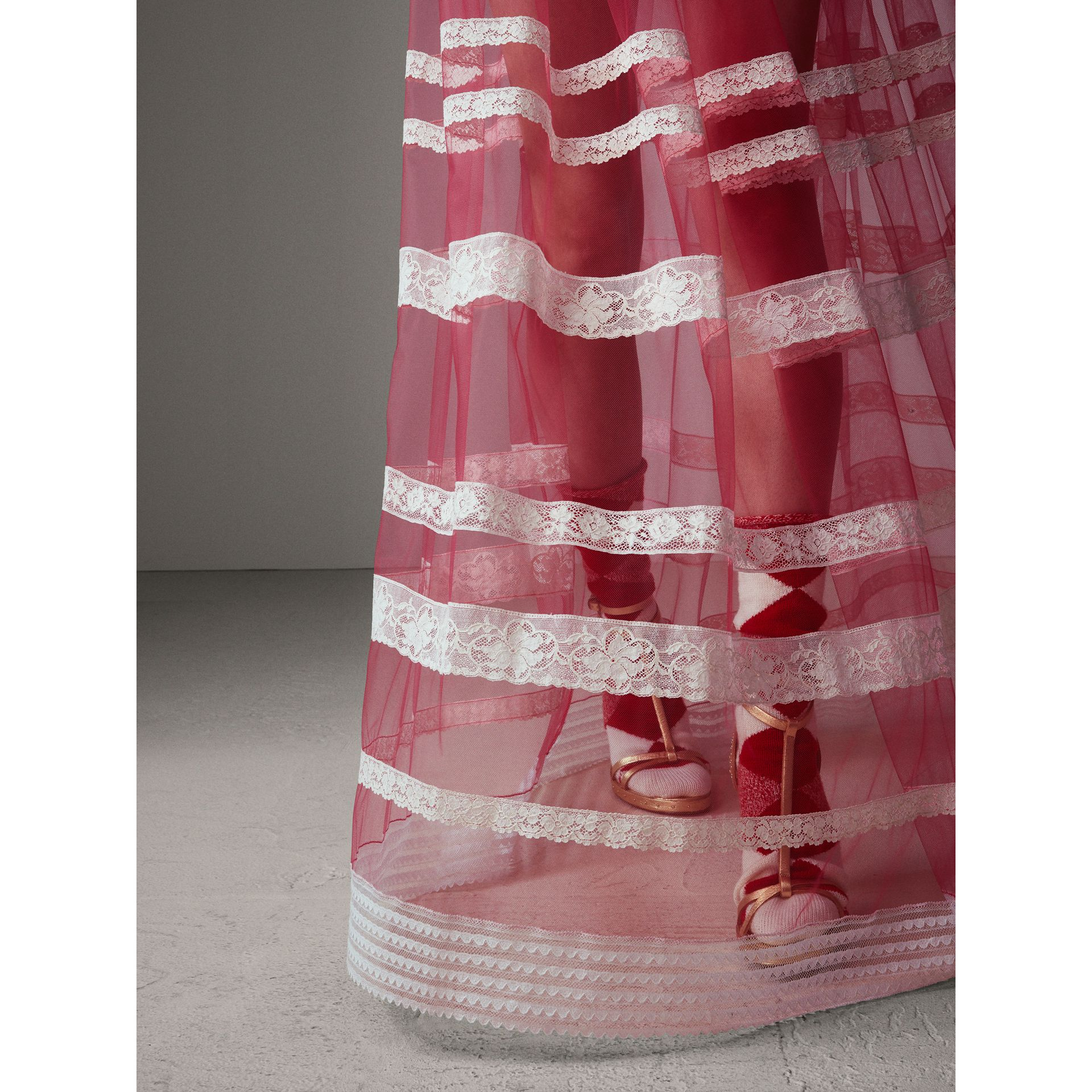 Floor-length English Lace Trim Tulle Skirt in Bright Pink - Women | Burberry Singapore - gallery image 5