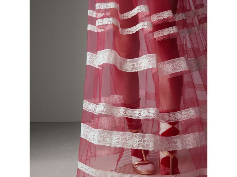 Floor-length English Lace Trim Tulle Skirt in Bright Pink - Women | Burberry United Kingdom - cell image 4