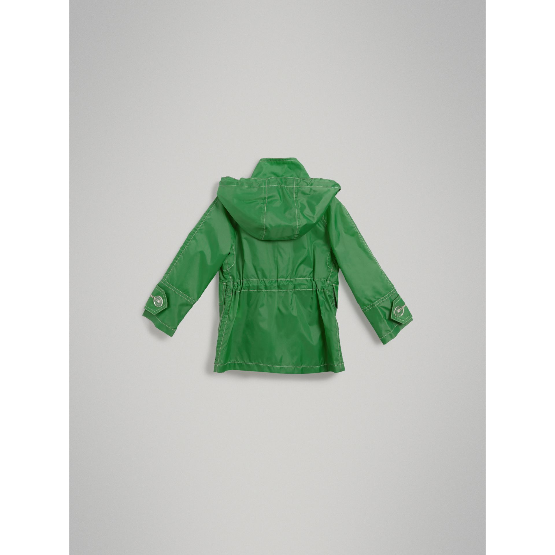 Tape Detail Rain Jacket in Bright Pigment Green - Girl | Burberry United States - gallery image 3
