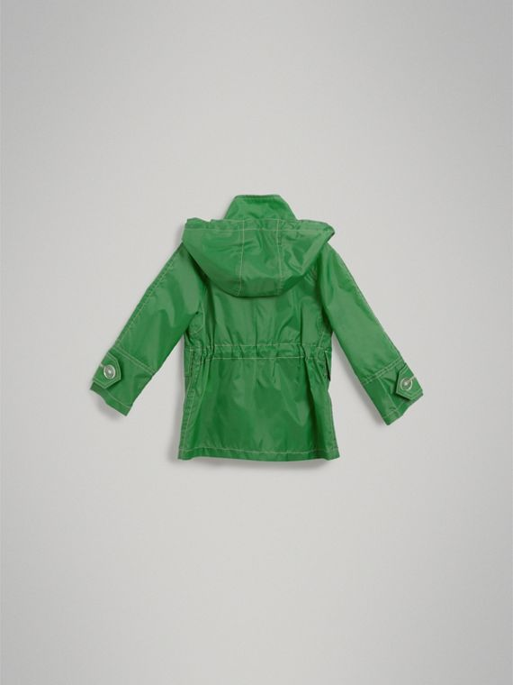 Tape Detail Rain Jacket in Bright Pigment Green - Girl | Burberry United States - cell image 3