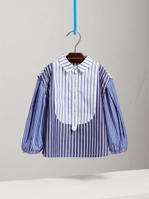Contrasting Stripe Cotton Tunic Shirt in Indigo - Girl | Burberry - cell image 2