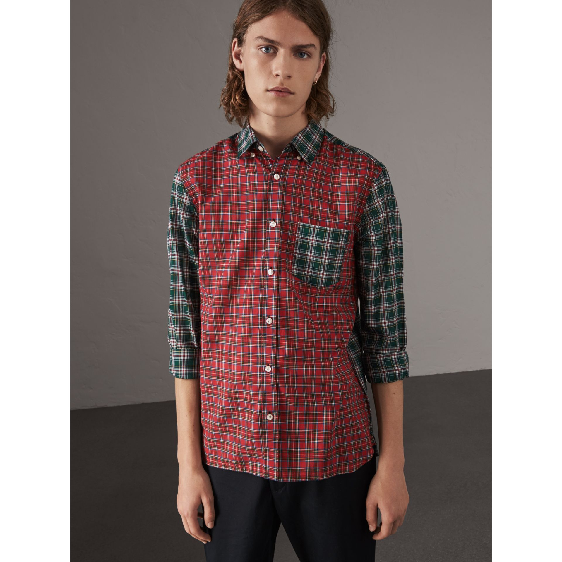 Tartan Cotton Oxford Shirt in Pine Green - Men | Burberry - gallery image 4