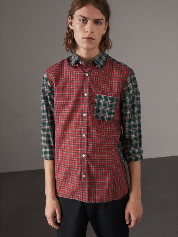 Tartan Cotton Oxford Shirt in Pine Green