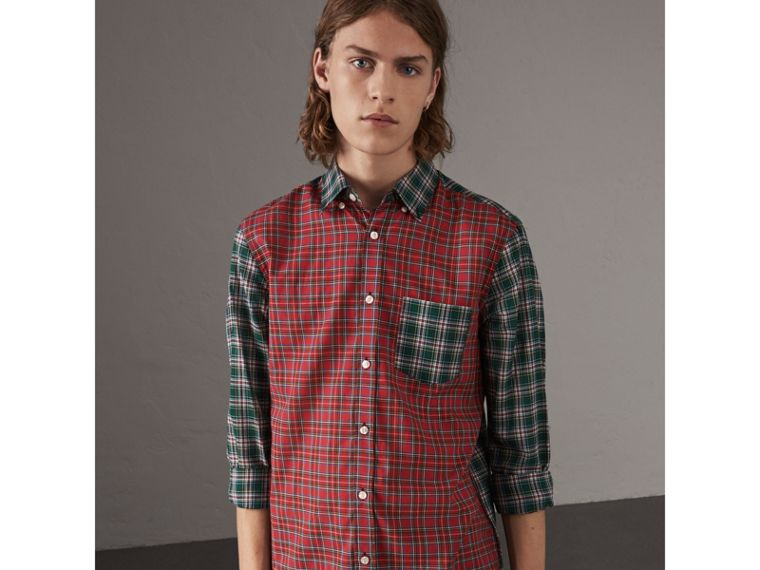 Tartan Cotton Oxford Shirt in Pine Green - Men | Burberry United States - cell image 4