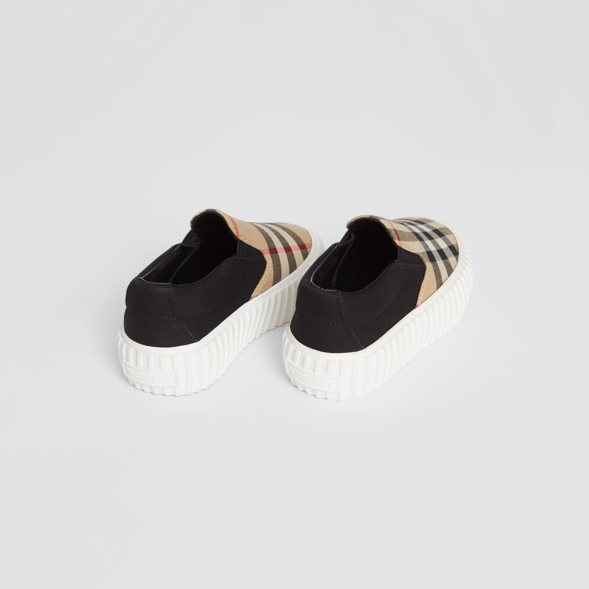 Vintage Check Detail Cotton Slip-on Sneakers in Archive Beige/black - Children | Burberry - gallery image 2