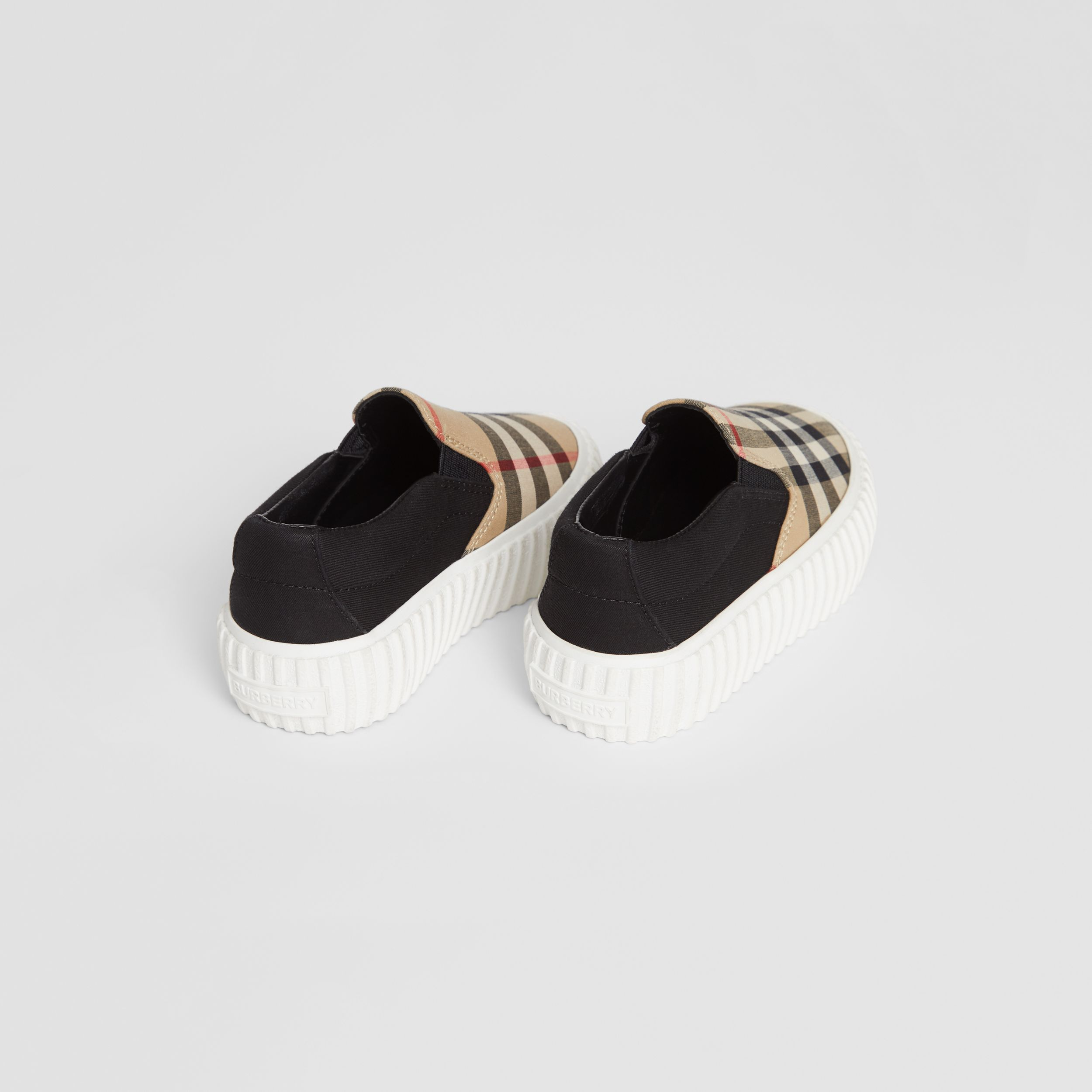 Vintage Check Detail Cotton Slip-on Sneakers in Archive Beige/black - Children | Burberry United Kingdom - 3