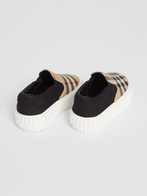 Vintage Check Detail Cotton Slip-on Sneakers in Archive Beige/black - Children | Burberry - cell image 2