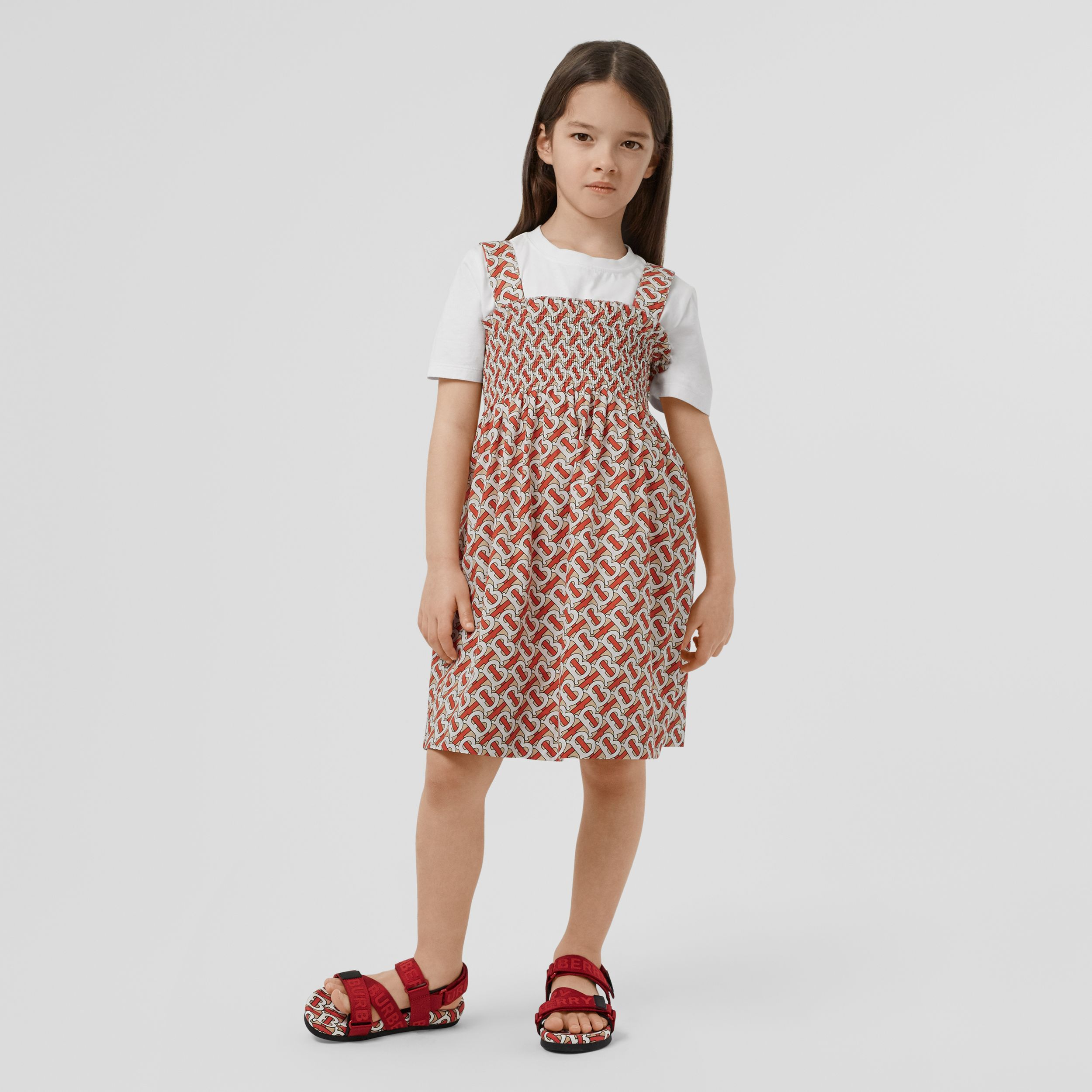 Smocked Monogram Print Cotton Poplin Dress in Vermilion Red | Burberry - 3