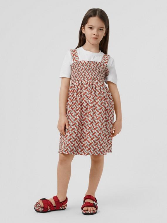 Smocked Monogram Print Cotton Poplin Dress in Vermilion Red