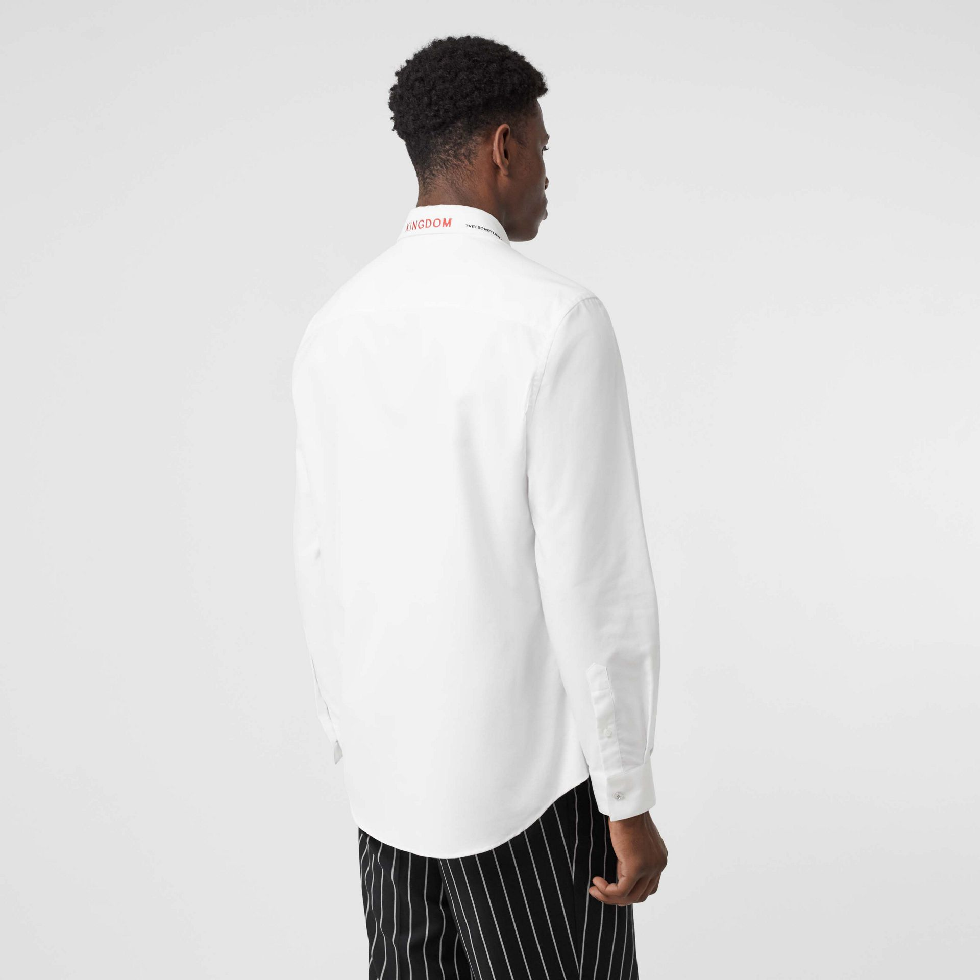 Classic Fit Embroidered Cotton Poplin Dress Shirt in White - Men | Burberry - gallery image 2
