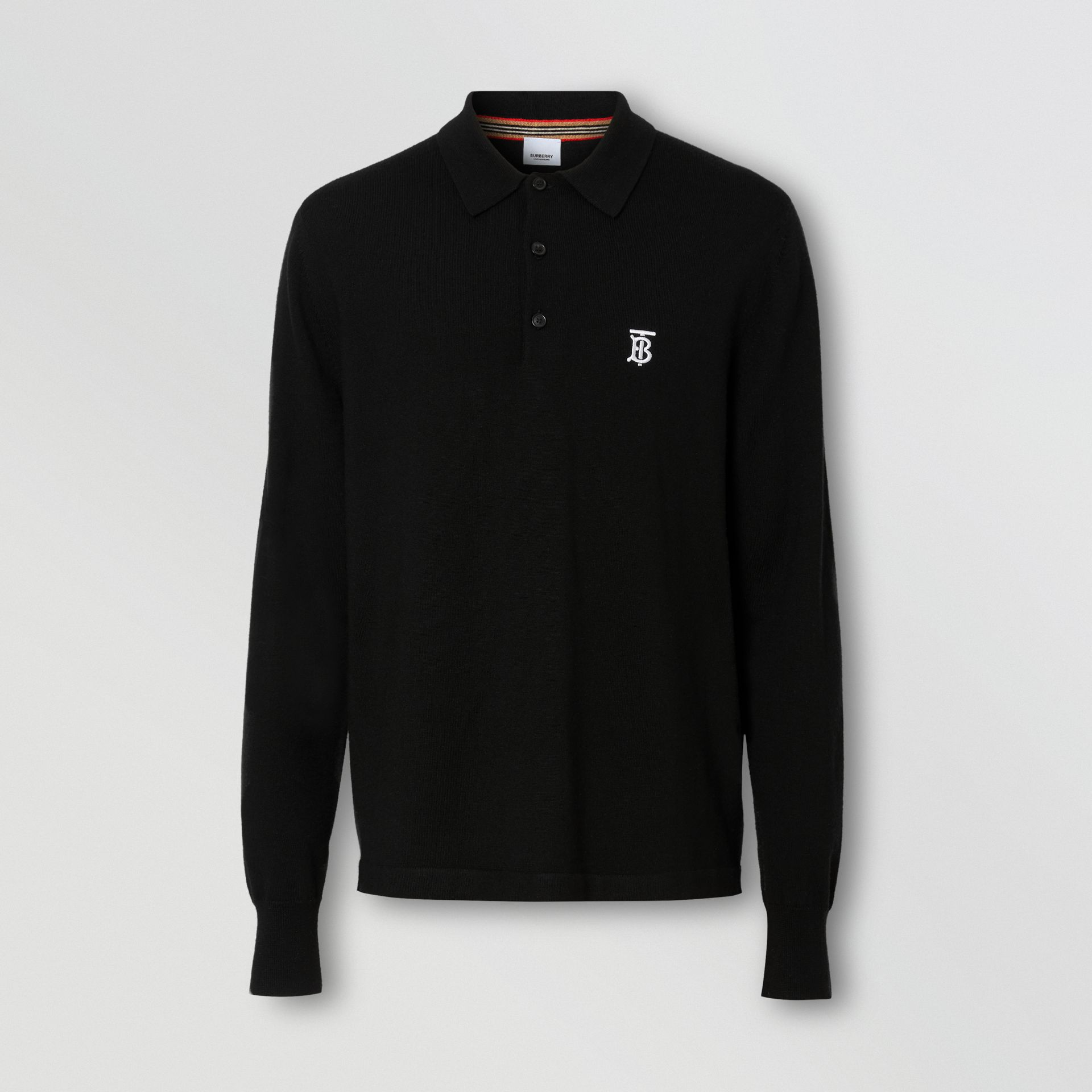 Long-sleeve Monogram Motif Merino Wool Polo Shirt in Black - Men | Burberry Singapore - gallery image 3