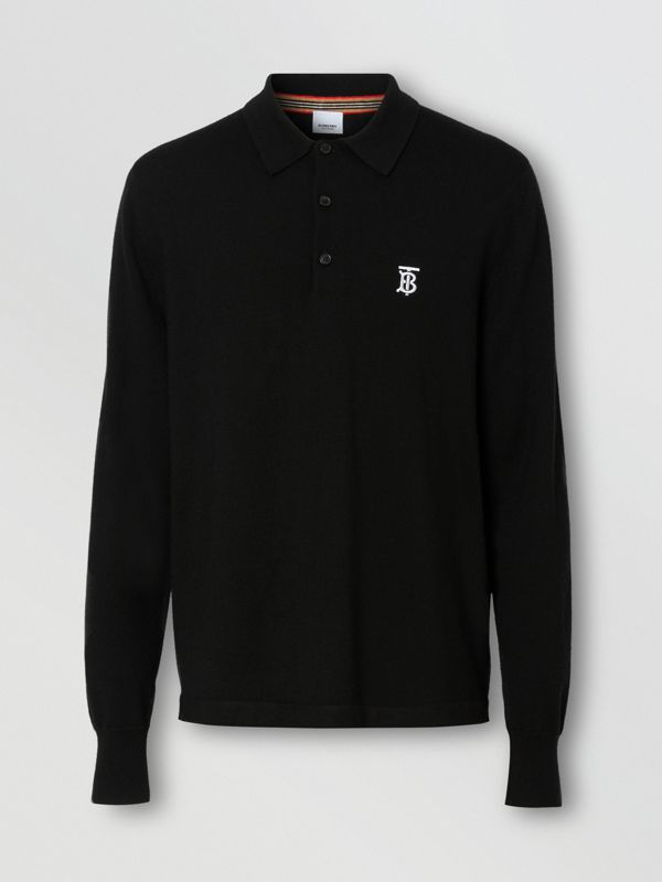 Long-sleeve Monogram Motif Merino Wool Polo Shirt in Black - Men | Burberry Singapore - cell image 3