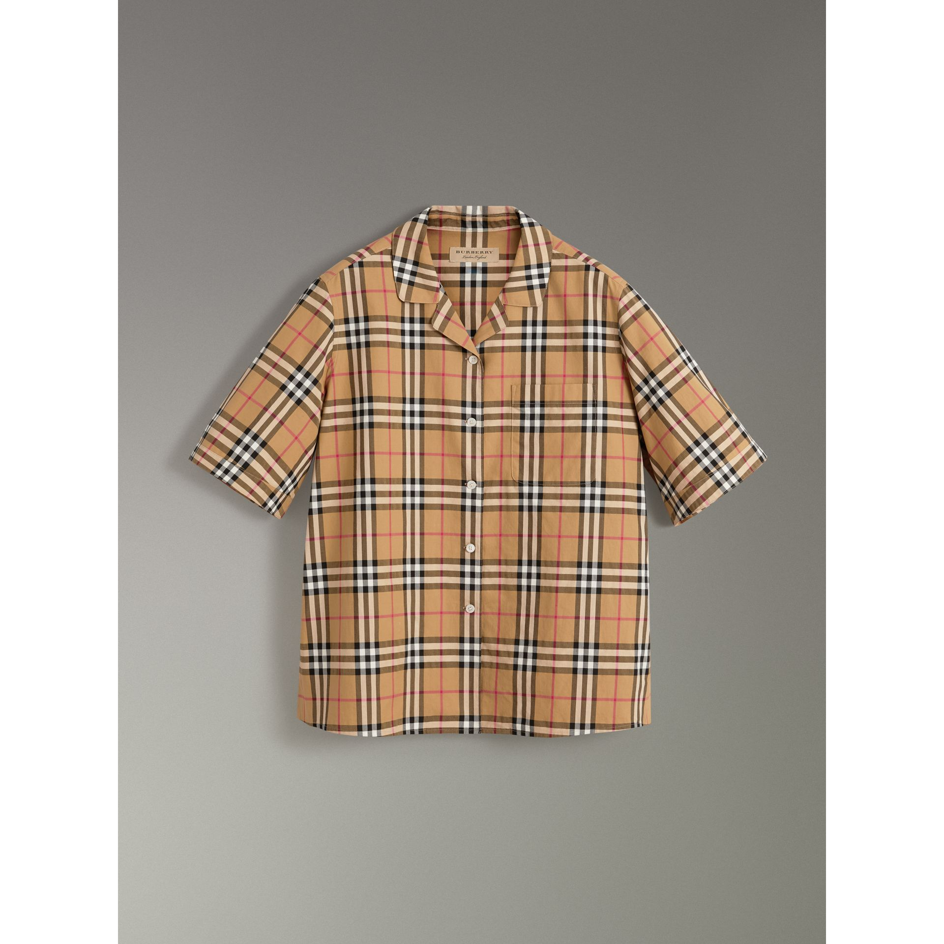 Short-sleeve Vintage Check Shirt in Antique Yellow - Women | Burberry United States - gallery image 3