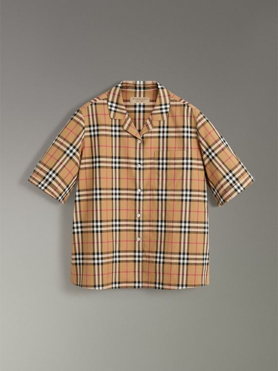 Short-sleeve Vintage Check Shirt in Antique Yellow - Women | Burberry United States - cell image 3