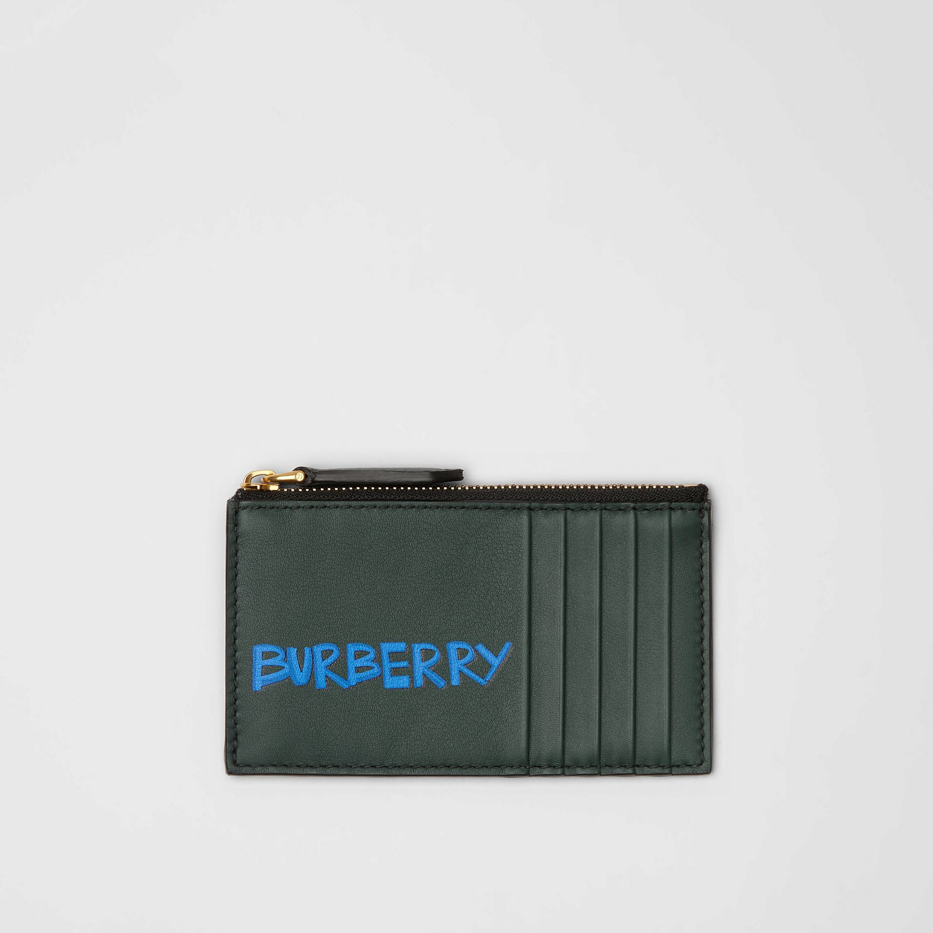 Graffiti Print Leather Zip Card Case in Deep Bottle Green | Burberry United Kingdom - gallery image 0