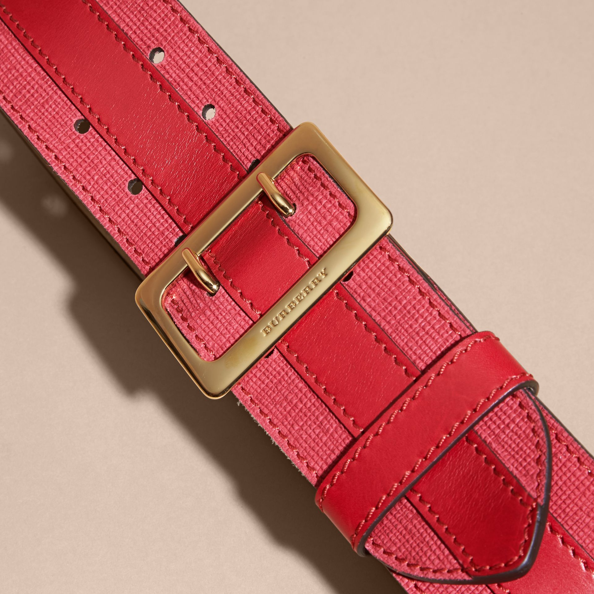 Plum pink Appliquéd Textured Suede and Leather Belt Plum Pink - gallery image 3