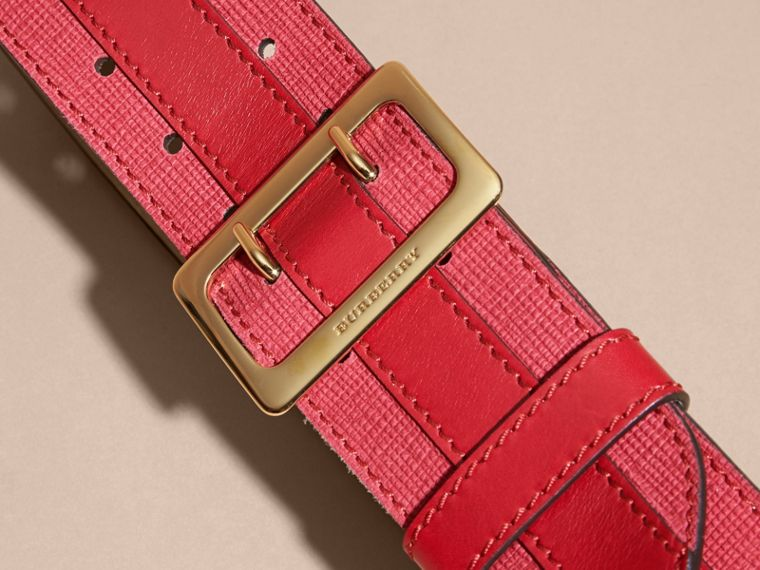 Appliquéd Textured Suede and Leather Belt in Plum Pink - cell image 2