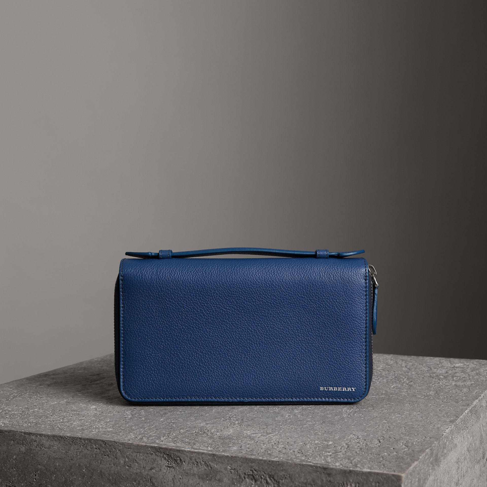 Grainy Leather Travel Wallet in Bright Ultramarine - Men | Burberry Hong Kong - gallery image 0