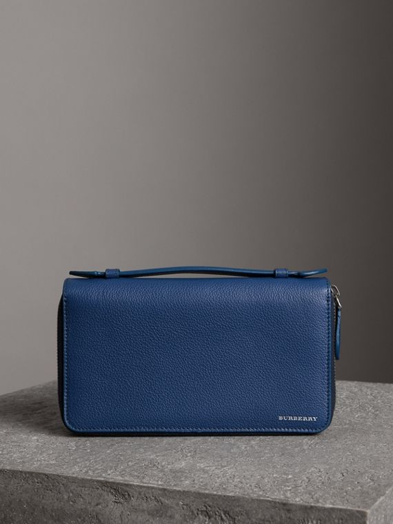 Grainy Leather Travel Wallet in Bright Ultramarine