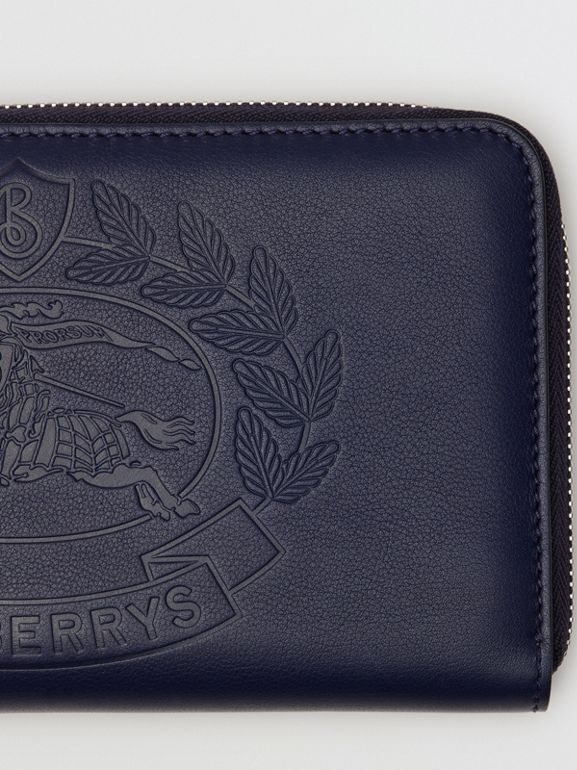 Embossed Crest Leather Ziparound Wallet in Regency Blue - Men | Burberry - cell image 1