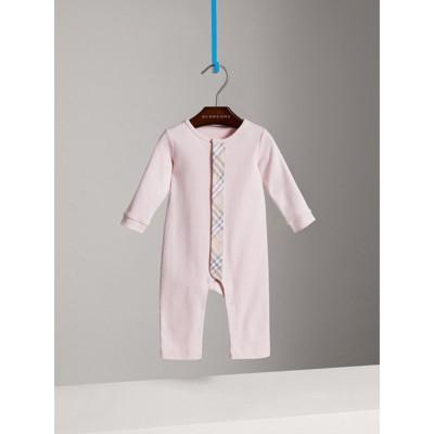 Burberry - Combinaison en coton avec garnitures à motif check - 1