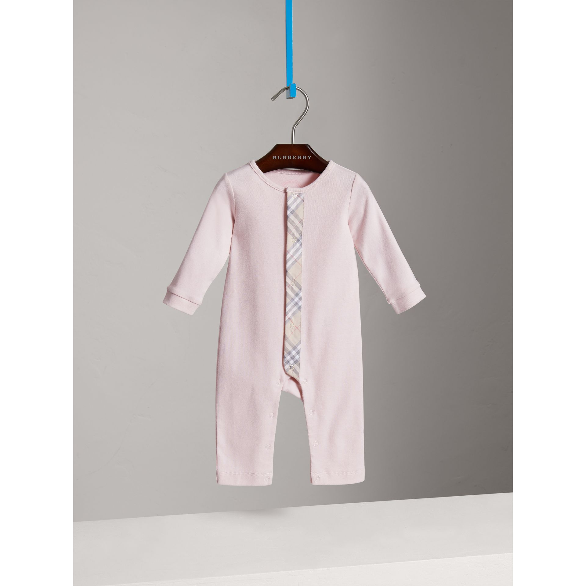 Check Trim Cotton Jumpsuit in Powder Pink - Children | Burberry - gallery image 0