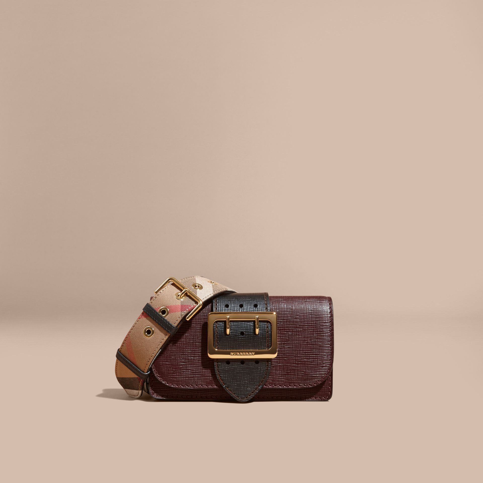 Burgundy/black The Small Buckle Bag in Textured Leather Burgundy/black - gallery image 9