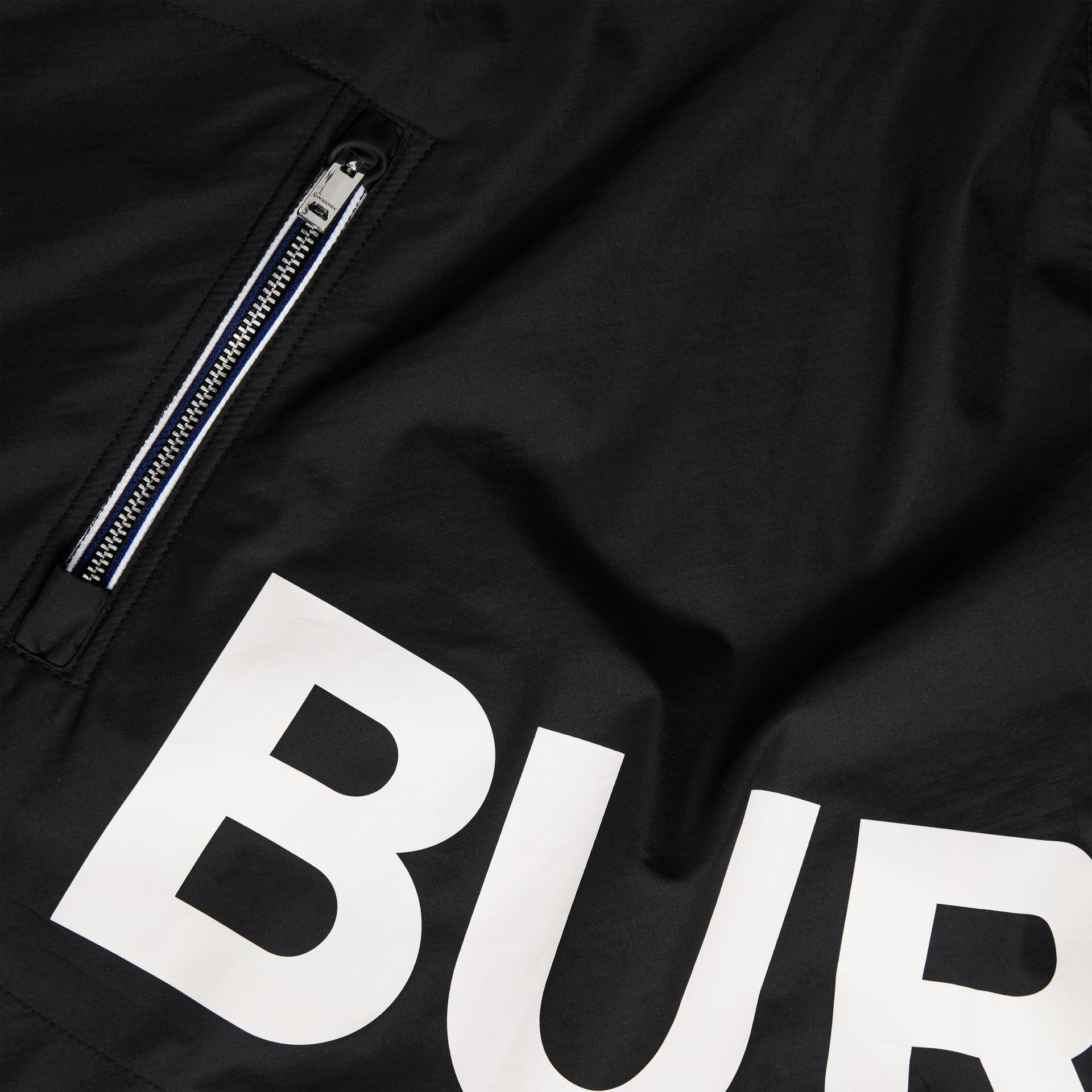 Logo Print Hooded Cape in Black | Burberry Australia - gallery image 5