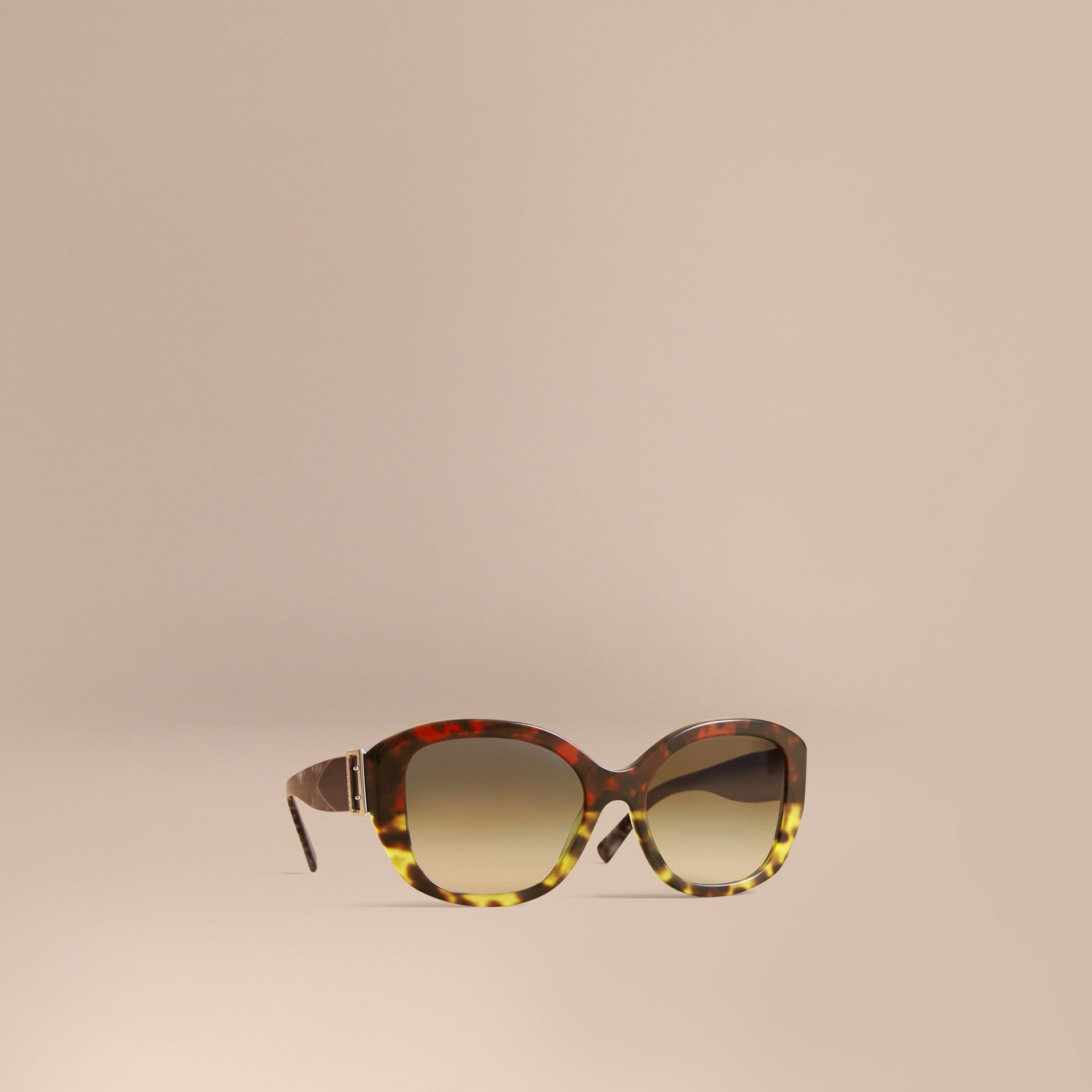 Buckle Detail Oversize Square Frame Sunglasses in Amber Yellow - Women | Burberry United Kingdom - gallery image 0