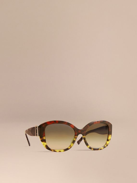 Buckle Detail Oversize Square Frame Sunglasses in Amber Yellow - Women | Burberry